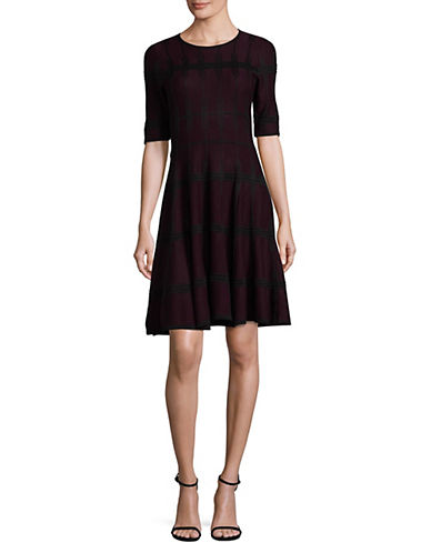 Ivanka Trump Windowpane Sweater Dress-BLACK-Medium