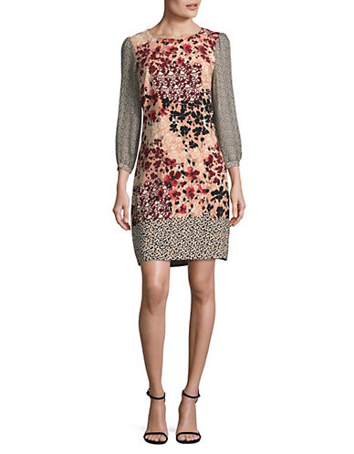 Karl Lagerfeld Paris Floral Leopard Print Shift Dress-PINK MULTI-2
