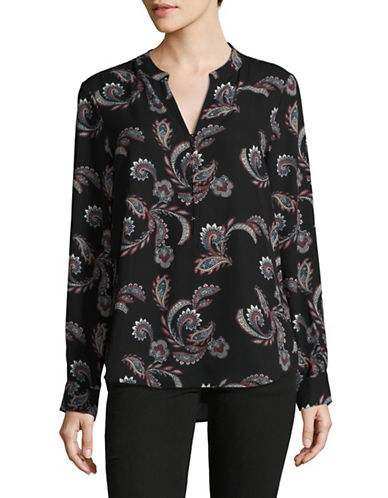 Ivanka Trump Split Neck Paisley Blouse-BLACK-X-Small