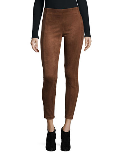 Ivanka Trump Faux Suede Leggings-BROWN-Medium