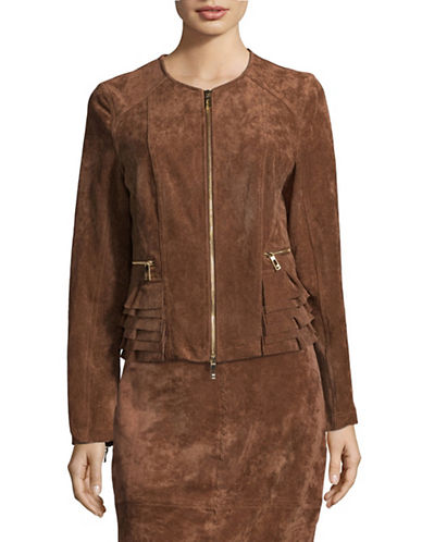 Ivanka Trump Faux Suede Ruffle Blazer-BROWN-X-Small