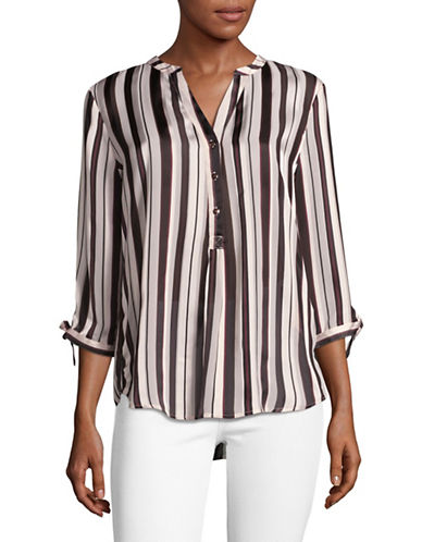 Ivanka Trump Split Neck Striped Tunic-BROWN MULTI-X-Small