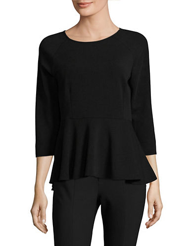 Ivanka Trump Three-Quarter Sleeve Crepe Top-BLACK-Medium 89494726_BLACK_Medium