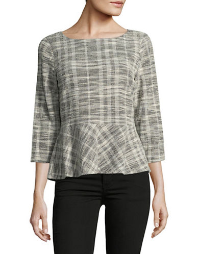 Ivanka Trump Text Plaid Top-GREY-Small