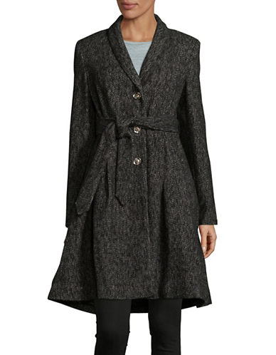 Ivanka Trump Shawl Collar Robe Coat-BLACK/WHITE-8