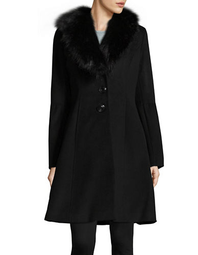 Ivanka Trump Faux Fur Trimmed Coat-BLACK-2