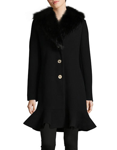 Ivanka Trump Ruffle Shawl Collar Coat-BLACK-16