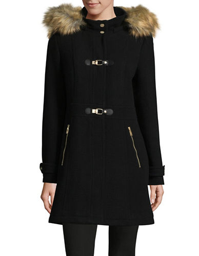 Ivanka Trump Slim Fit Buckle Coat-BLACK-2