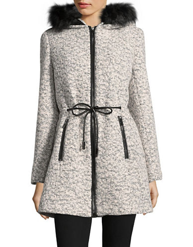Ivanka Trump Faux Fur Trimmed Jacket-BLACK/WHITE-4