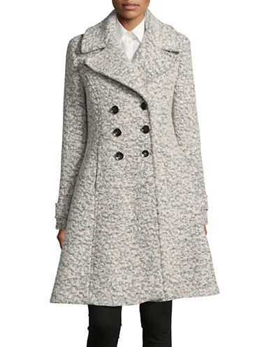 Ivanka Trump Wool-Blend Boucle Trench Coat-BLACK/WHITE-2