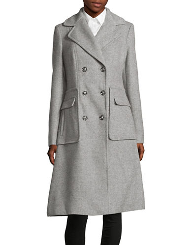 Ivanka Trump Wool-Blend Textured Trench-GREY-2