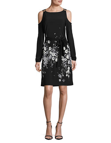 Ivanka Trump Cold Shoulder Shift Dress-BLACK-X-Large