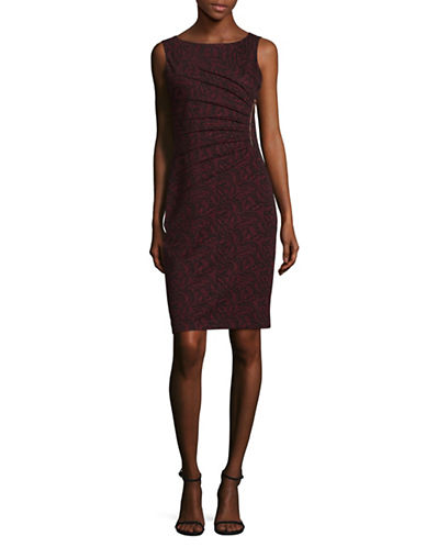 Ivanka Trump Starburst Jacquard Sheath Dress-RED-14