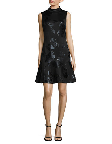 Ivanka Trump Floral-Printed Stretch Dress-BLACK-2