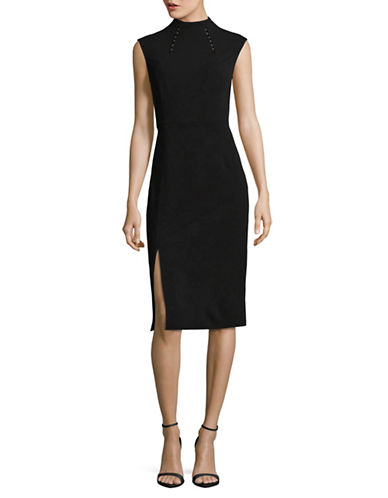 Ivanka Trump High-Neck Sheath Dress-BLACK-12