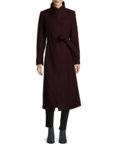 Kenneth Cole New York Wool-Blend Maxi Wrap Coat-RUM RAISIN-2