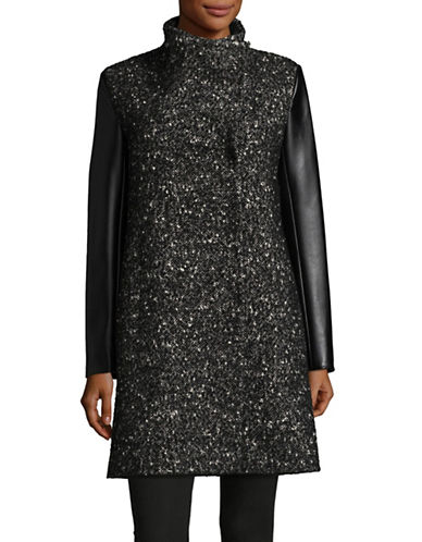 Kenneth Cole New York Tweed-Panel Asymmetrical Coat-BLACK/WHITE-Small
