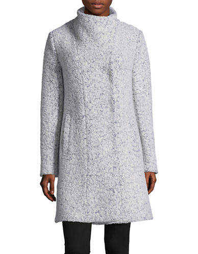 Kenneth Cole New York Pressed Boucle Asymmetrical Coat-ZINC-Small
