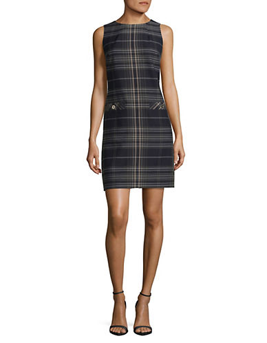 Tommy Hilfiger Sleeveless Plaid Sheath Dress-BLUE MULTI-6