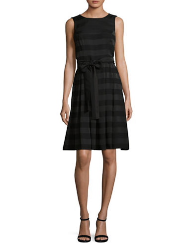 Tommy Hilfiger Striped Crew Neck Dress-BLACK-14