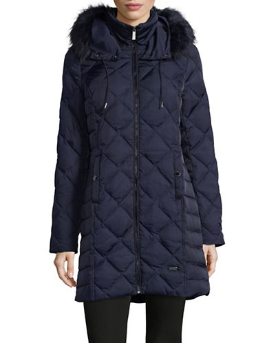 Kenneth Cole New York Diamond-Quilt Down Walker Coat with Faux Fur-MIDNIGHT NAVY-Medium