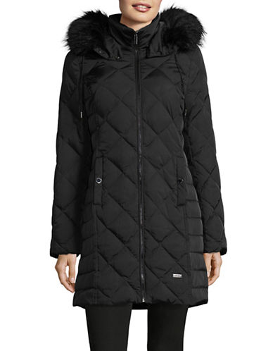 Kenneth Cole New York Diamond-Quilt Down Walker Coat with Faux Fur-BLACK-Medium