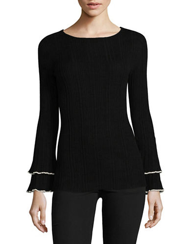 Ivanka Trump Ruffled Bell-Sleeve Sweater-BLACK-X-Large