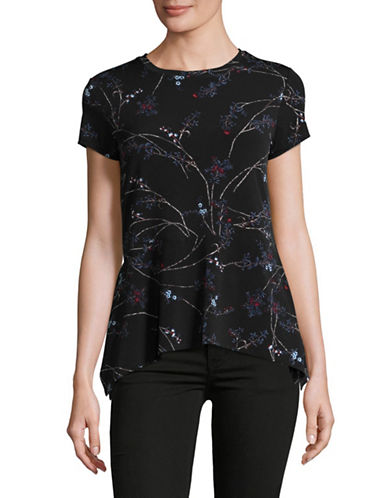 Ivanka Trump Floral Peplum Top-BLACK MULTI-Large