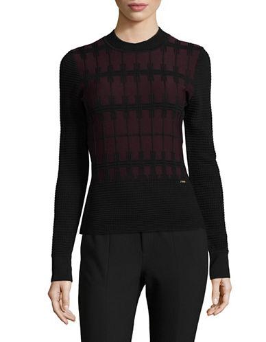 Ivanka Trump Textured Crew Neck Sweater-BLACK-Small