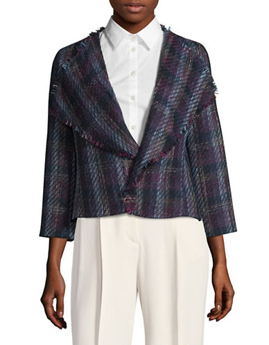 Karl Lagerfeld Paris Flyaway Plaid Tweed Jacket-BLUE-Small