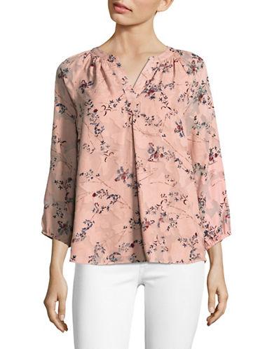 Ivanka Trump Ditsy Floral Blouse-PINK-Medium