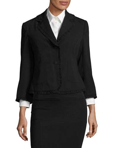Ivanka Trump Ruffled Two-Button Blazer-BLACK-6