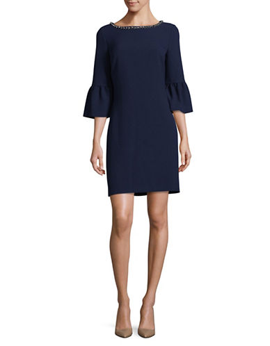 Karl Lagerfeld Paris Crepe Sheath Dress-BLUE-4