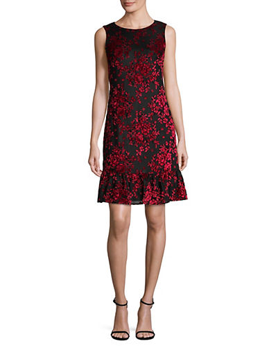 Karl Lagerfeld Paris Floral Flocked Flounce Dress-RED/BLACK-8