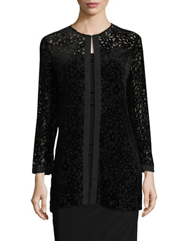 Karl Lagerfeld Paris Sheer Floral Mesh Cardigan-BLACK-Medium