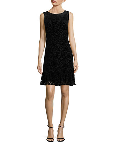 Karl Lagerfeld Paris Lace Drop Waist Dress-BLACK-2