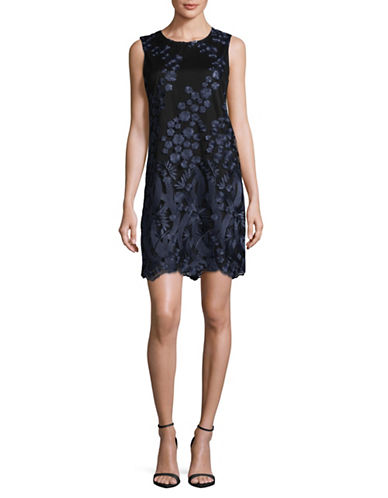 Karl Lagerfeld Paris Embroidered Lace Sheath Dress-BLUE-8