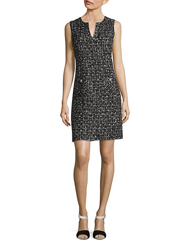 Karl Lagerfeld Paris Tweed Shift Dress-BLACK/IVORY-10