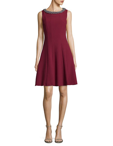 Karl Lagerfeld Paris Embellished A-Line Dress-RED-12