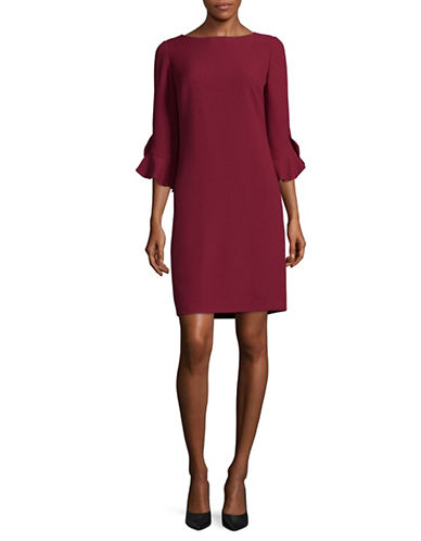 Karl Lagerfeld Paris Ruffle Bell-Sleeved Sheath Dress-RED-8