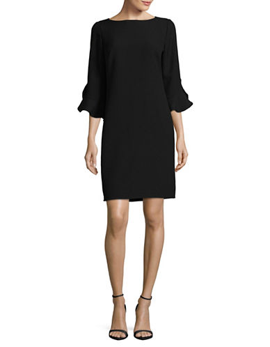 Karl Lagerfeld Paris Ruffle Bell-Sleeved Sheath Dress-BLACK-10