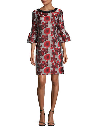 Karl Lagerfeld Paris Chain Detail A-Line Dress-RED MULTI-10