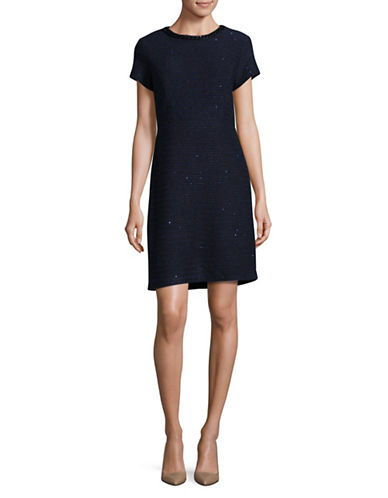 Karl Lagerfeld Paris Sequin Tweed Sheath Dress-BLUE-14