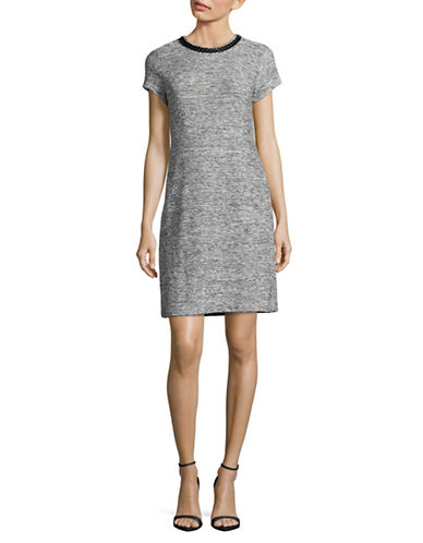 Karl Lagerfeld Paris Embellished Tweed Dress-GREY HEATHER-8