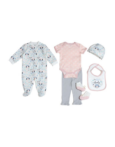 Chick Pea Six-Piece Owl Print Cotton Sleeper Set-PINK-3-6 Months