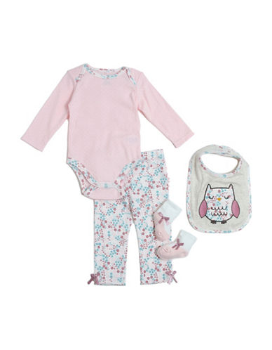 Chick Pea Four-Piece Bunny Deluxe Cotton Set-PINK-6-9 Months