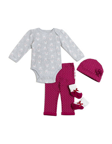 Chick Pea Four-Piece Bunny Deluxe Cotton Set-PURPLE-6-9 Months