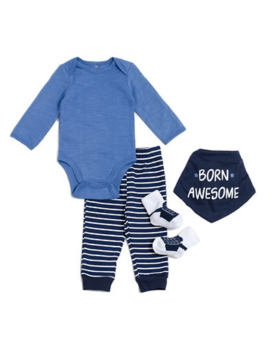 Chick Pea Four-Piece Doodle Deluxe Cotton Set-BLUE-0-3 Months