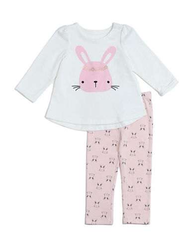 Chick Pea Two-Piece Rabbit Graphic Sweater and Pants Set-PINK-18 Months