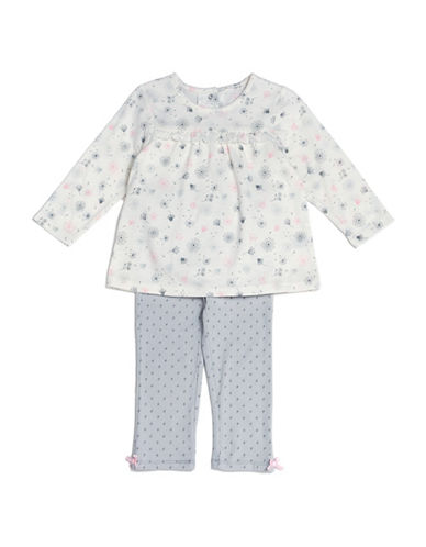 Kyle & Deena Two-Piece Floral Tee and Leggings Set-GREY-12 Months